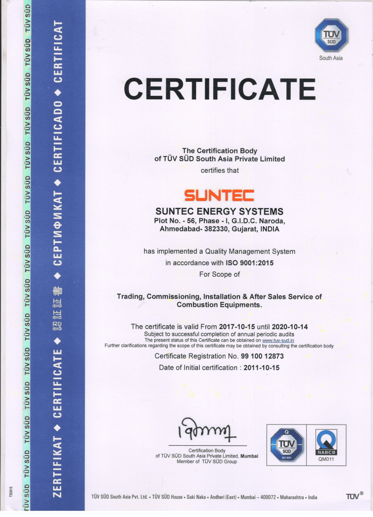 Certificate For the customer and by the customer | Suntec Energy Systems